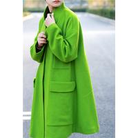 琴哩原创自制2015秋冬新款羊绒大衣女中长款绿色羊毛呢外套