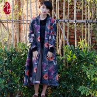 琴哩原创自制 大衣女2015秋冬长款女士印花风衣羊毛呢子外套