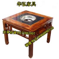 火锅店火锅桌椅批发定做古铜色火锅餐桌椅