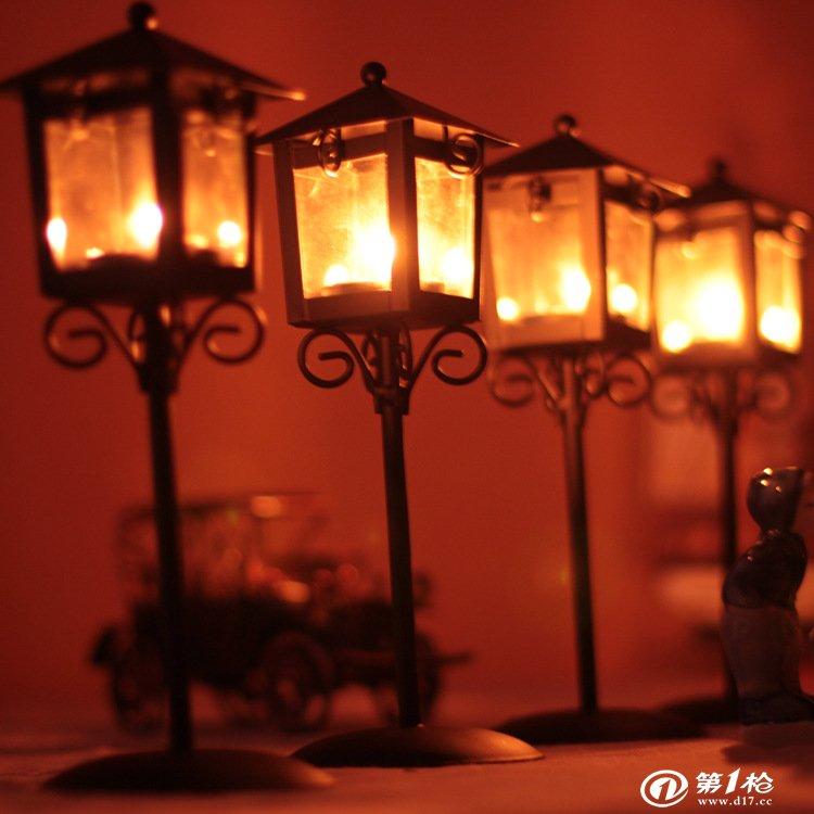 欧式田园风格铁艺烛台古典落地路灯形状婚庆用品家居