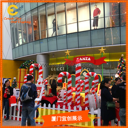 供应商场圣诞节条纹玻璃钢糖果圣诞鹿圣诞老人道具定制