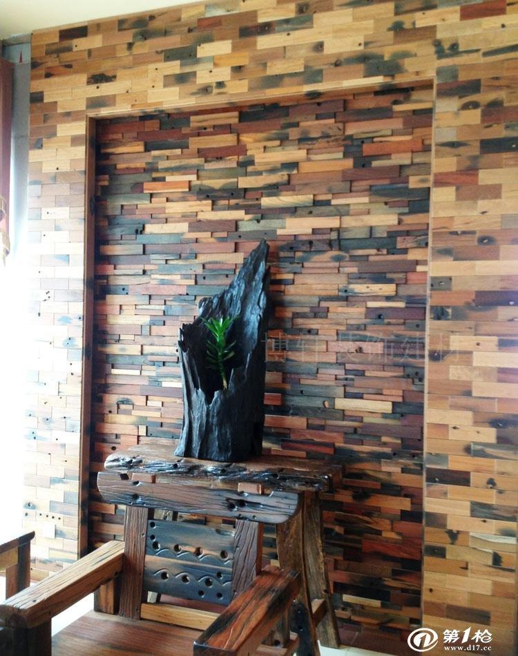 古船木背景墙马赛克玄关客厅酒吧茶楼酒店店面装修