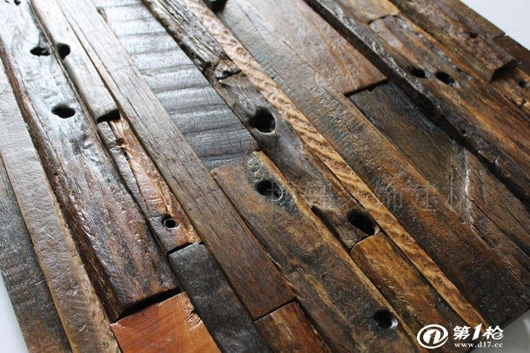 古船木马赛克地中海老船木电视背景墙客厅玄关店面