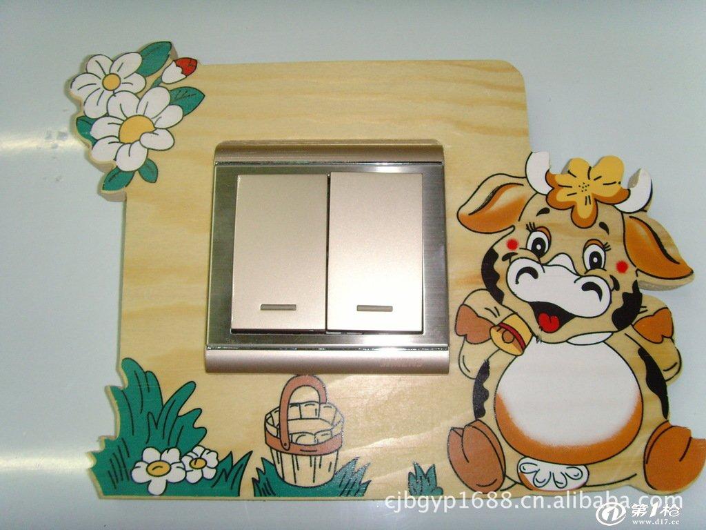 批发供应纯天然环保木制卡通动物创意相框开关贴