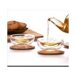 RELEA物生物 双层<em>玻璃</em>茶杯 配竹木底座<em>杯子</em> 茶具<em>套装</em>玻璃杯
