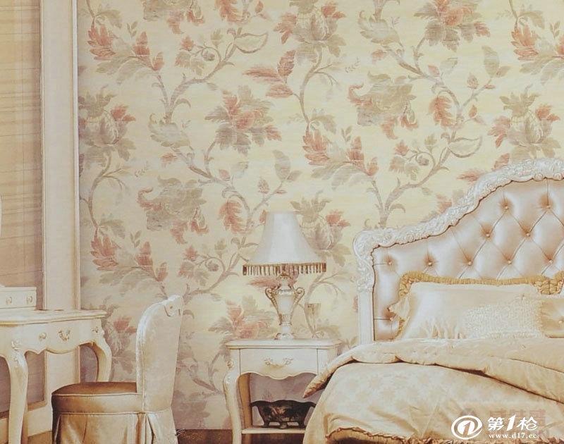 墙纸/壁纸/墙布/墙贴 欧式高档无纺布印花田园大花墙纸卧室客厅舒适