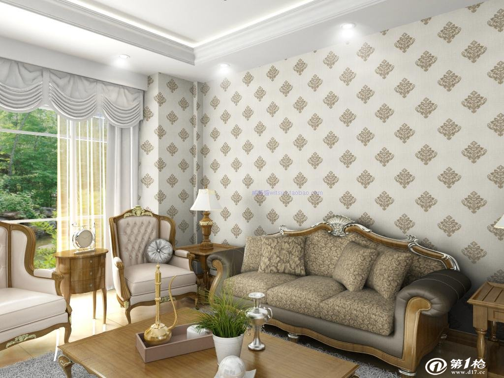墙布/墙贴 时尚欧式高档无纺布大马士革墙纸客厅电视