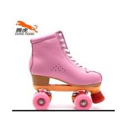 腾虎S520粉色双排花样休闲溜冰鞋头层牛皮轮滑鞋