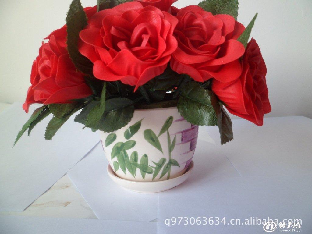 香皂玫瑰花含苞玫瑰花瓣泡澡盆栽创意礼品拉花摇篮花立体玫瑰花