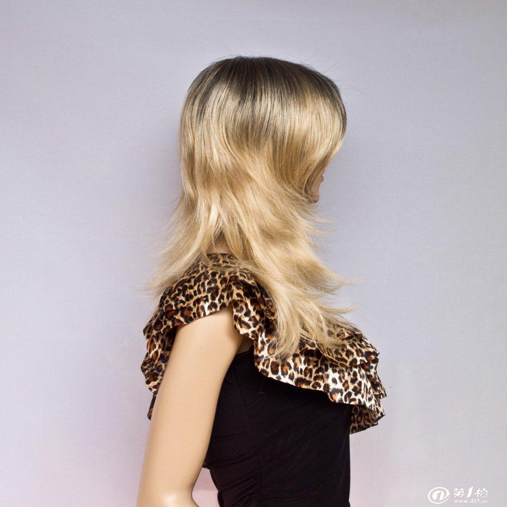 爆款外贸假发 女 包邮黑色金色混色 长发自然卷 进口发丝wigs图片