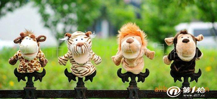 nici 动物手指偶 手偶 毛绒动物指偶 狮/虎/鹿/猴 低价厂家批发
