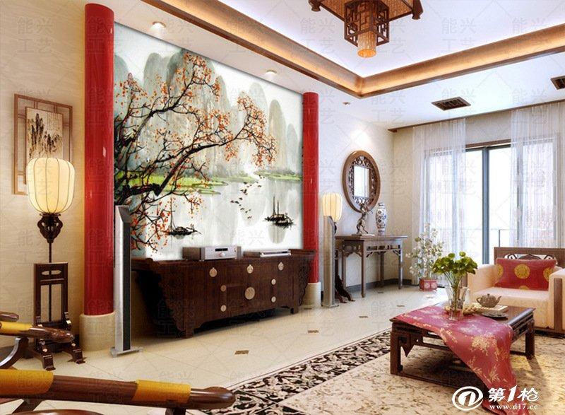 中式无缝壁纸墙布大型壁画