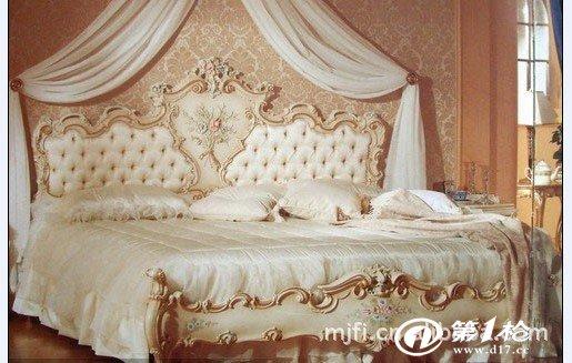 欧利源高档欧式家具 彩绘真皮金鹏展翅床(白色)颜色
