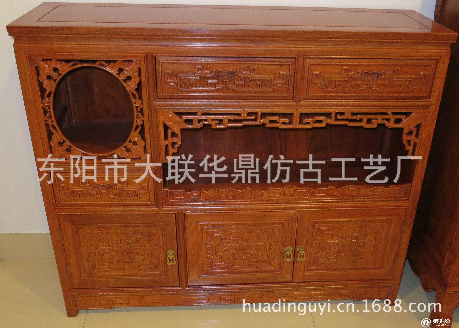 厂家直销 东阳木雕 红木家具 明式祥云五斗柜 非洲花梨实木家具