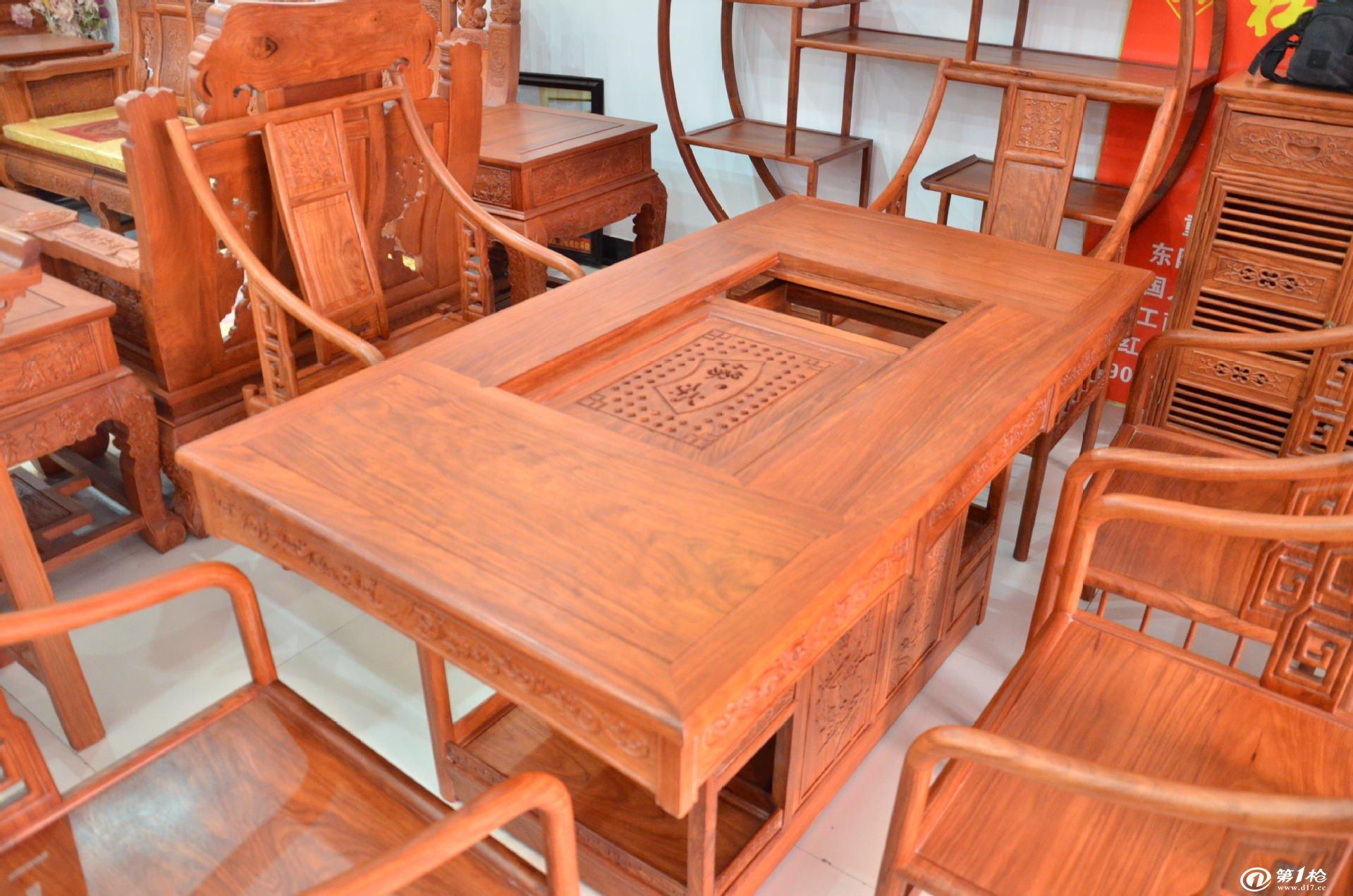 东阳实木家具品牌杜邦老红木茶桌花梨木家俱罗马茶台高档红木茶台