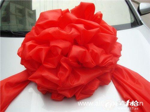 球形大红绣球红绸花绣球花绣花绸缎剪彩开业系石狮子30cm