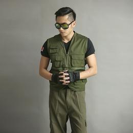 新款摄影多口袋帆布军绿无领时尚马甲缩略图