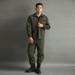军绿色纯户外棉新款长袖套装