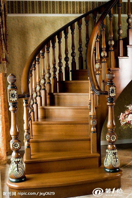 欧式 中式 简易 工艺 实木楼梯 实木大小立柱 护栏 扶手图片