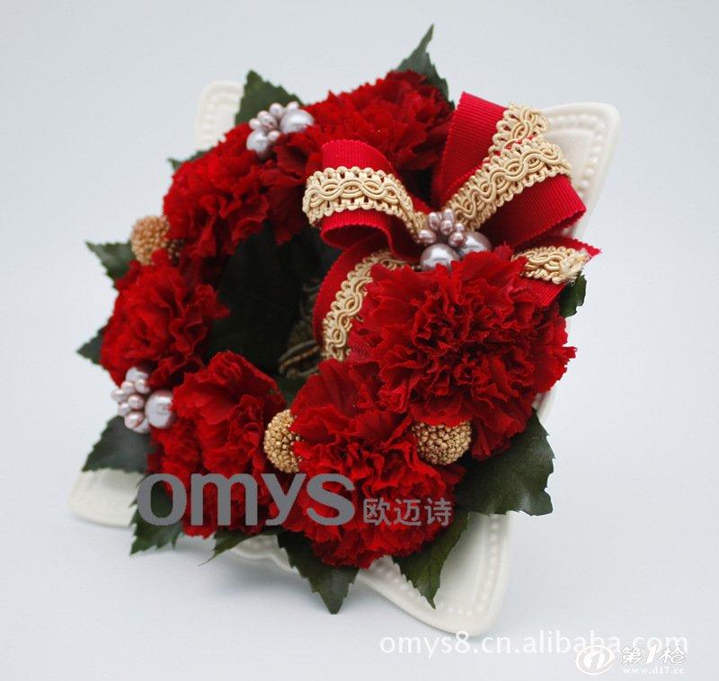 欧迈诗日本名师设计创意保鲜花新奇礼品 圣诞花环定制
