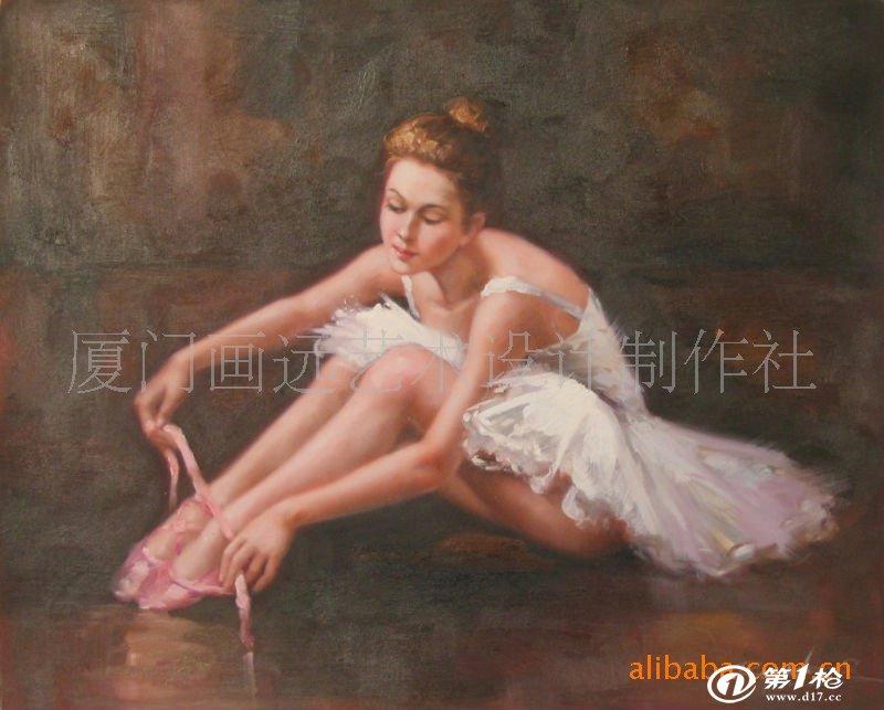 欧美手绘人物油画芭蕾舞题材画批发