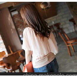 2013春装新款韩版修身甜美雪纺袖蝙蝠衫打底衫莫代尔t恤短袖t恤