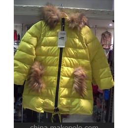 2014新款儿童羽绒服女童中长款冬季超大毛领加厚芭鲁思正品包邮