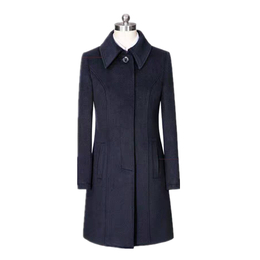 藏青色秋冬羊绒呢子大衣批发 中长款身收腰风衣