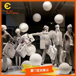 服装发布会秋冬季橱窗陈列装饰道具定制 白色橱窗展示道具