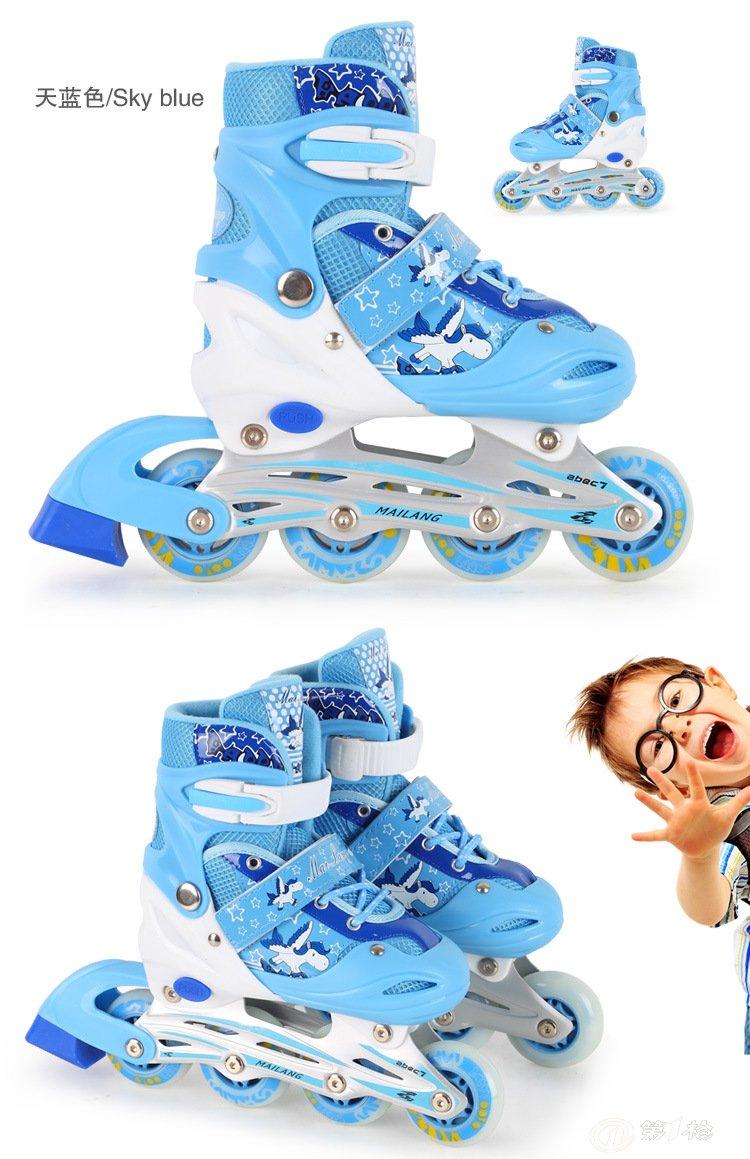 酷沃coolwo儿童溜冰鞋男女轮滑鞋旱冰鞋滑冰鞋成年直排可调全闪光