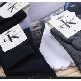 全棉五指袜纯色经典款刺绣中筒有跟商务休闲袜工厂直销