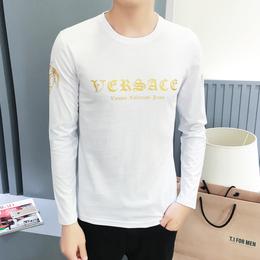 秋季纯棉圆领男士T恤青少年时尚印花长袖t恤男新款休闲打底衫批