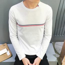 新款纯棉圆领t恤男休闲青年装时尚印花男士长袖T恤新品打底衫批