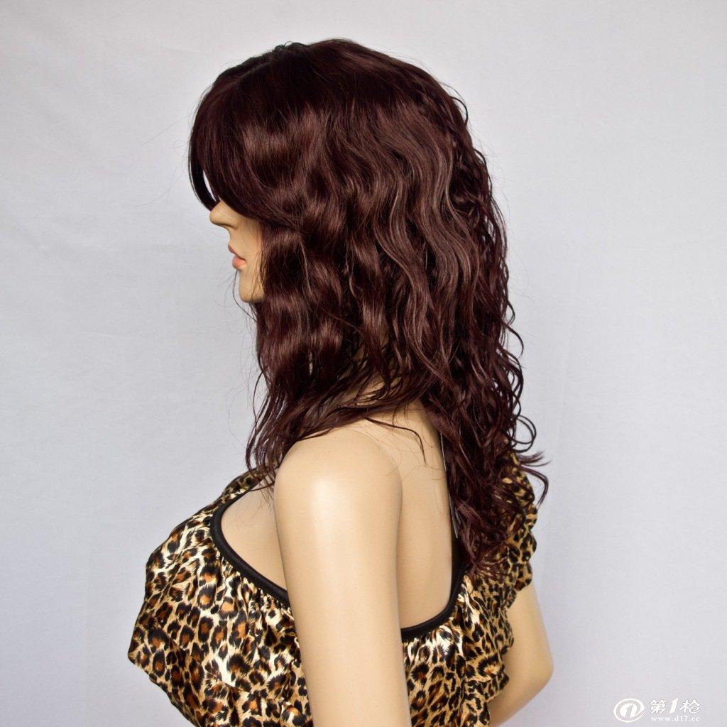 酒红色玉米烫假发 时尚潮流女士假发 进口发丝高品质易打理自然
