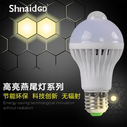LED灯泡E27大螺口小单灯节能灯球泡7W螺旋超亮暖白黄光源