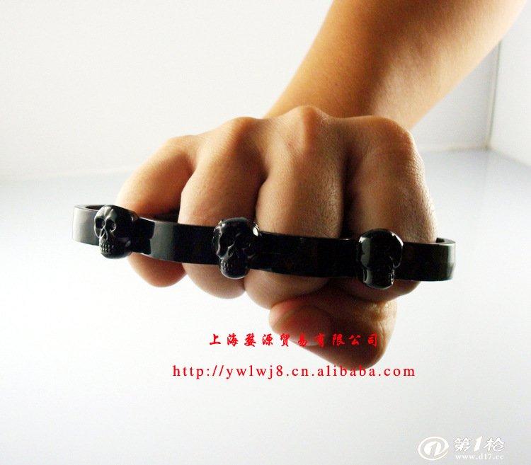 拳扣 拳霸 黑色骷髅头 手扣 拳套 铁拳头铁四指 指虎户外用品批发
