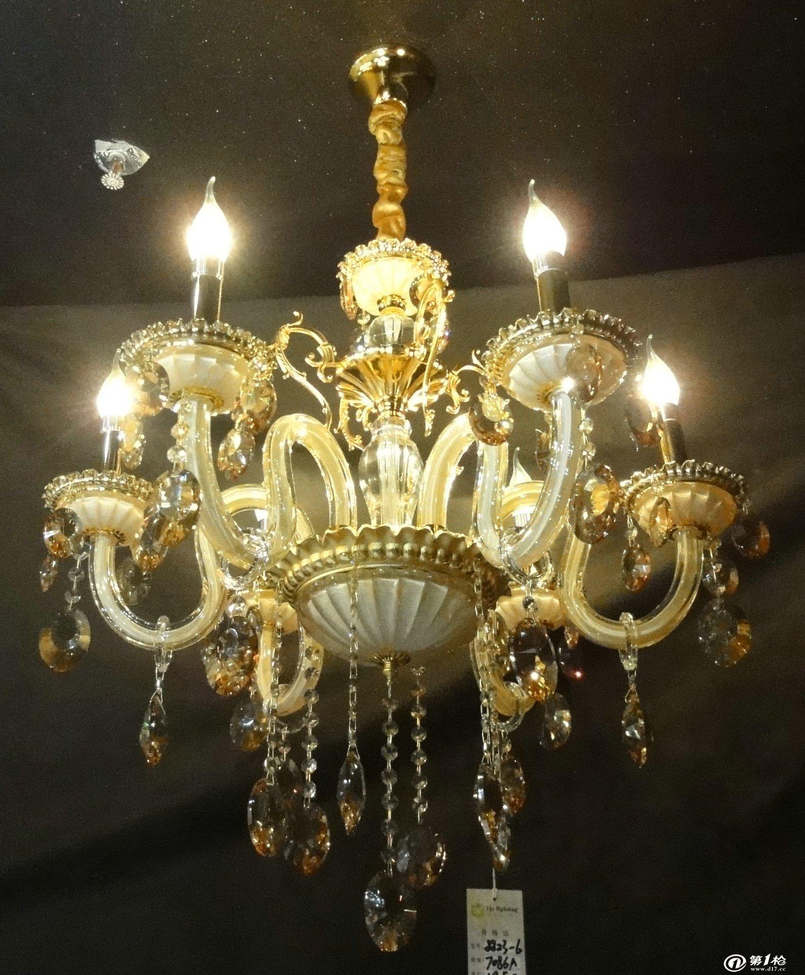 批发蜡烛水晶灯6头k9高档香槟金时尚水晶欧式吊灯