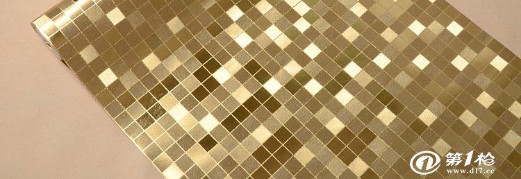 馬賽克墻紙 純金色 純銀色壁紙 衛生間廚房壁紙 防水可擦 特價