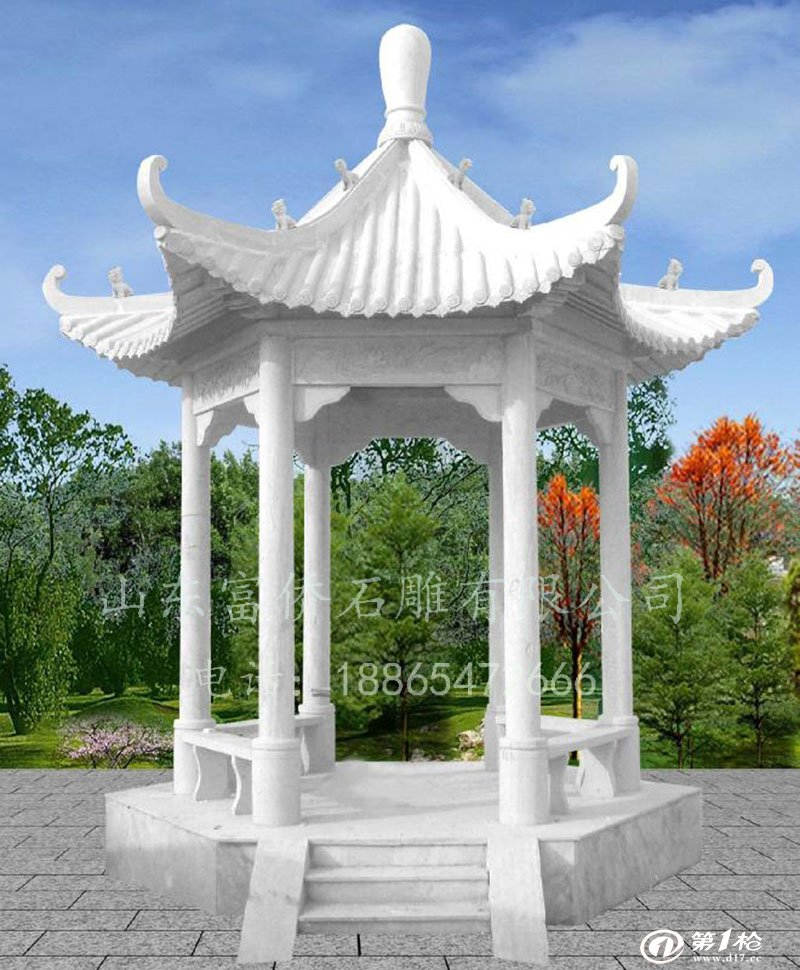 拱桥凉亭风景图片