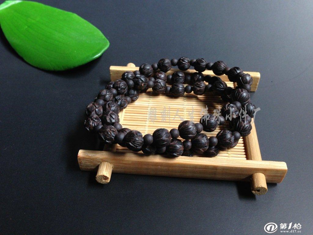 【雕刻人生】 黑檀 莲花 佛珠 手串 0.8*54_木质,竹质
