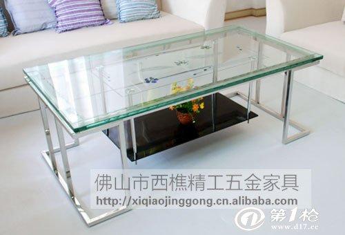 a05极简创意设计不锈钢玻璃茶几  颜色:玻璃贴花吊黑玻/透明玻璃面