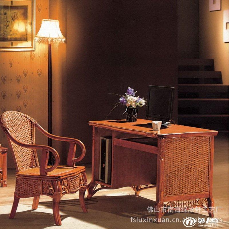绿欣轩欧式时尚棕色系列竹藤手编衣柜 电脑桌 卧室组合3075