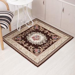 欧式 方形地毯块毯地垫 咖色方形小地毯  地垫 防地板刮痕