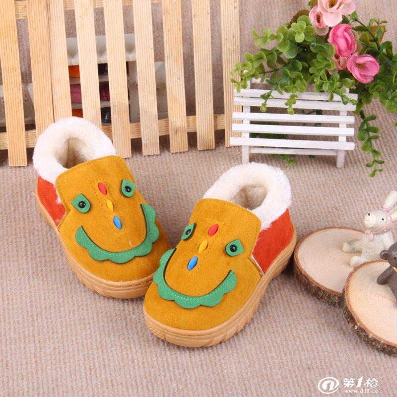 慈溪优诺鞋业 2013新款儿童棉鞋批发 卡通笑脸图案棉拖鞋 超爆款