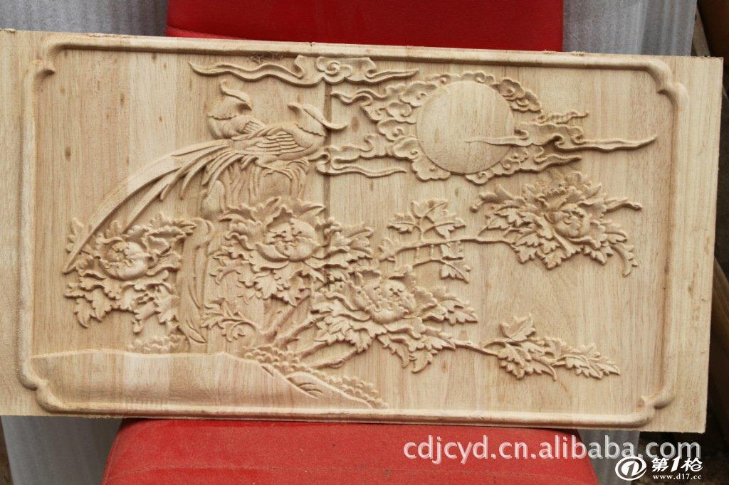 来料加工半手工半机械制作木雕工艺牡丹花鸟图壁画