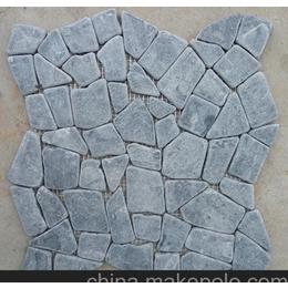 黑色青卵网贴片不规则碎拼自由石马赛克出口,泳池瓷砖