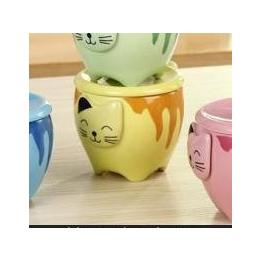 4款 猫色釉杯 卡通动物陶瓷<em>杯子</em> 广州创意<em>可爱</em>水<em>杯子</em>批发