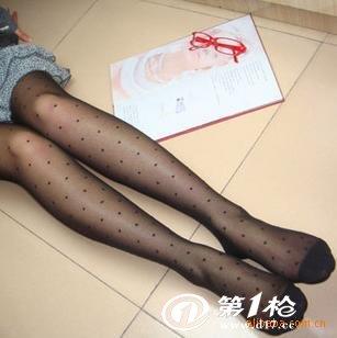 显瘦美感圆点提花连裤袜 圆点性感丝袜连裤袜 黑色丝袜提花连裤