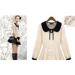 12韩国秋装新 甜美可爱系绳娃娃领气质镂空蕾丝双色百搭衬衣