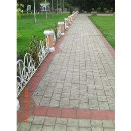 彩色水泥压花地坪工艺 公园道路压模地坪 西安压花地坪材料厂家